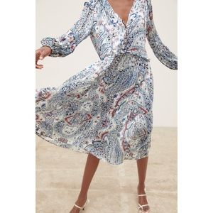 ZARA Boho Printed Metallic Thread Flowy Dress NWT